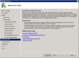 Выбор IIS компонентов для AD RMS